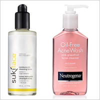 Suki Moisture Rich Cleansing Lotion, Neutrogena Pink Grapefruit Facial Cleanser