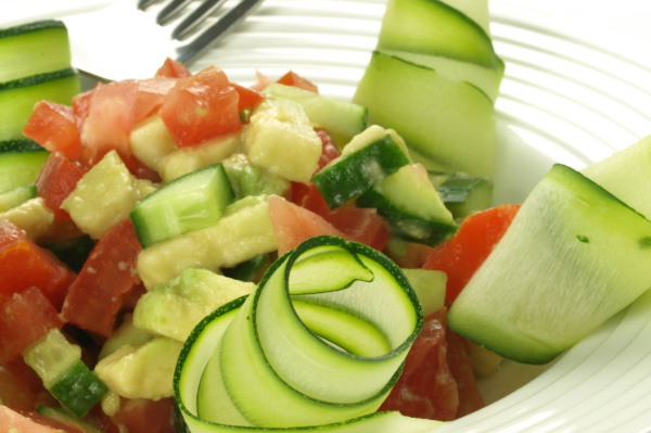 Tomato, cucumber and avocado side salad