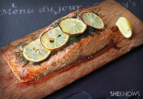 Cedar-planked sake salmon recipe
