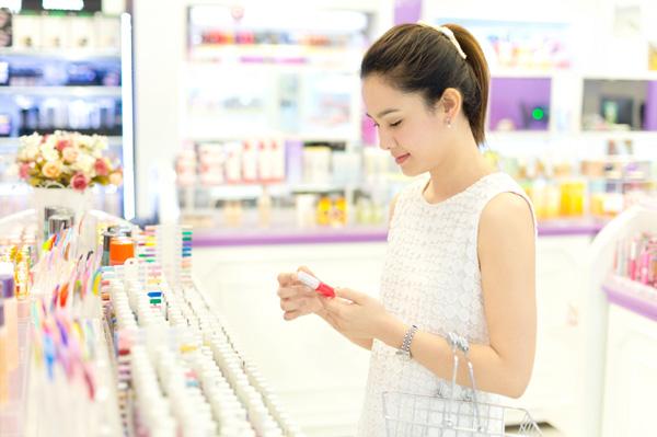 Woman buying makeup
