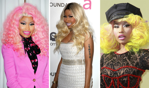 Nicki Minaj's rainbow colored locks