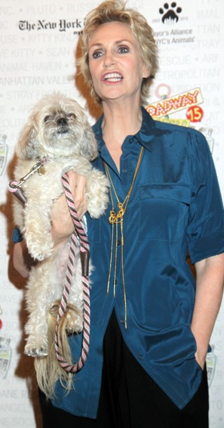 Jane Lynch with dog