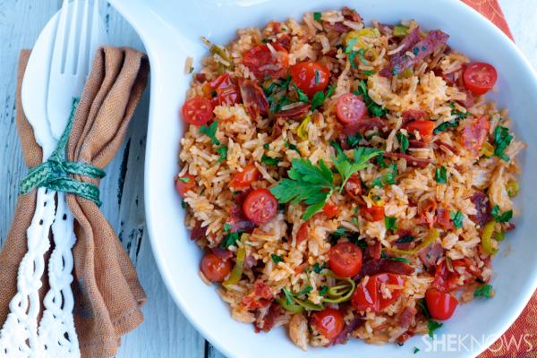 Chorizo rice with tomatoes
