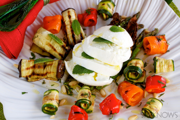 Grilled vegetables with mozzarella, pine nuts & mint