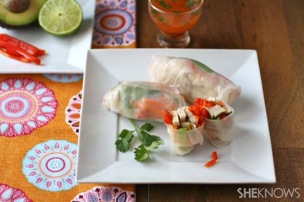 Chicken and vegetable spring rolls with spicy-lime dipping sauce