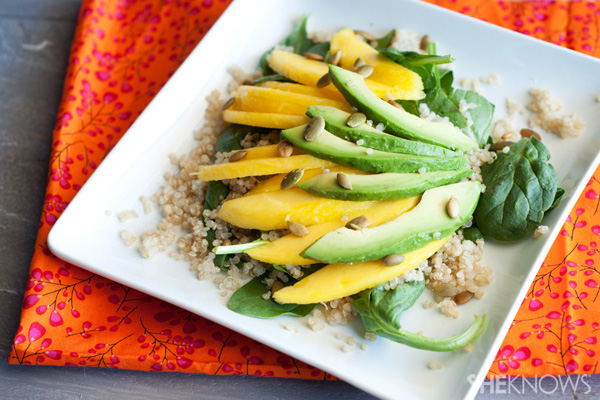 Tropical mango avocado salad with fresh citrus dressing
