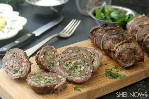 Beef braciola rolls with prosciutto, parmesan cheese, toasted pine nuts and parsley