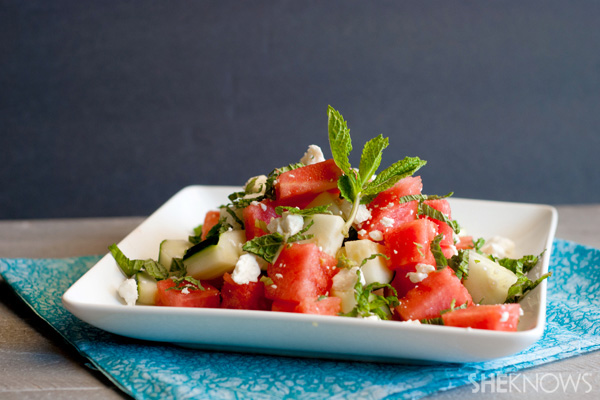 Refreshing watermelon and cucumber salad with feta and mint recipe
