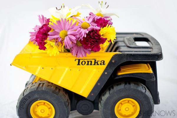 Old toy dump truck planter