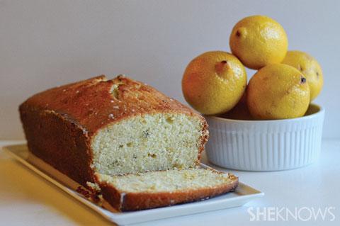 Lemon thyme pound cake with lemon glaze
