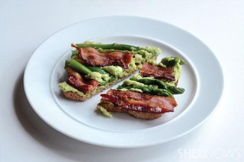 avocado toast with bacon and asparagus