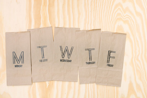 Stenciled lunch bags