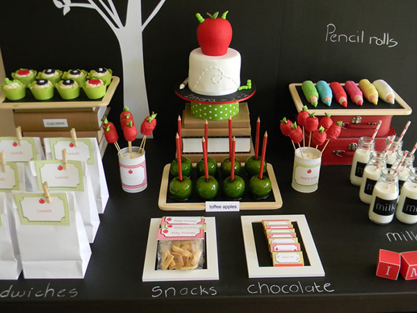 back to school party chalkboard trays