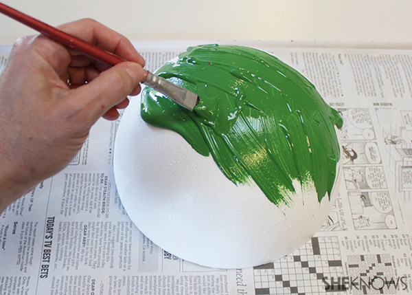 Mail a watermelon! Step 2 paint smoothfoam ball