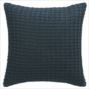 blue knit pillow