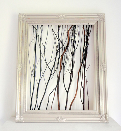 Thrift frame with birch twigs