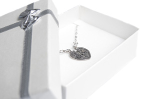 Friendship necklace in box isolated
