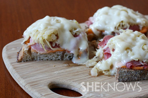 Mini Reuben sandwiches with corned beef