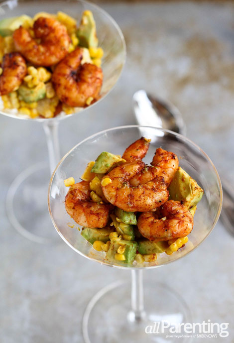 allParenting Spicy shrimp cocktail with avocado and corn