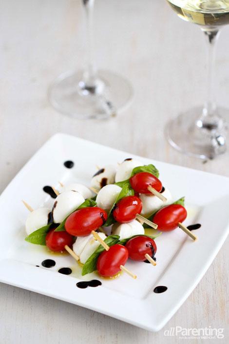 Caprese skewers with tomato, mozzarella and basil