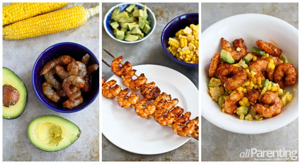 Spicy shrimp cocktail with avocado and corn collage