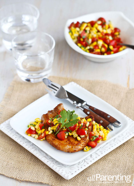 allParenting Grilled pork chops with corn and tomato salsa