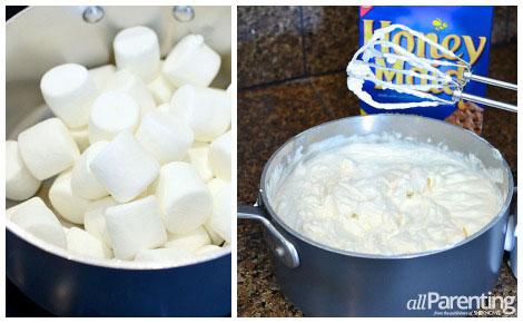 Homemade marshmallow ice cream collage
