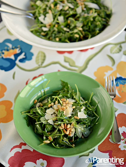 Arugula salad with pine nuts, parmesan and Champagne vinaigrette
