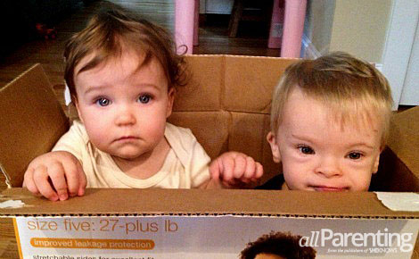 Charlie and Emma in a box