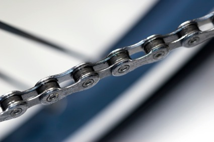 close-up view of bicycle chain