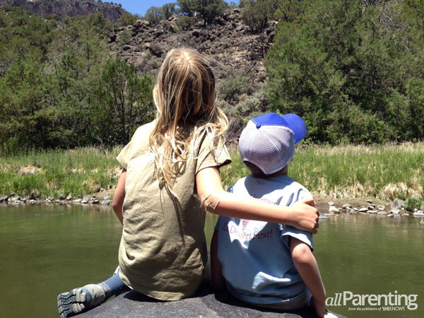 Olivia and Sebastian taking in the Rio Grande Gorge