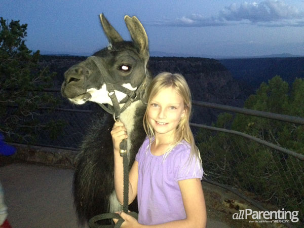 Olivia with her llama companion, Diego, from Wild Earth Llama Adventures.