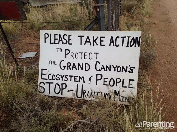 Sign posted at an encampment of local volunteers and Havasupai tribal members working to stop the Grand Canyon uranium mine.