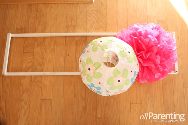 allParenting DIY pom pom chandelier step 6