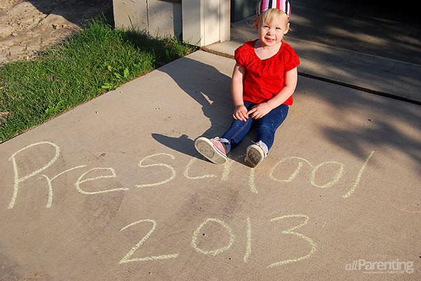 First day of school photos: sidewalk chalk