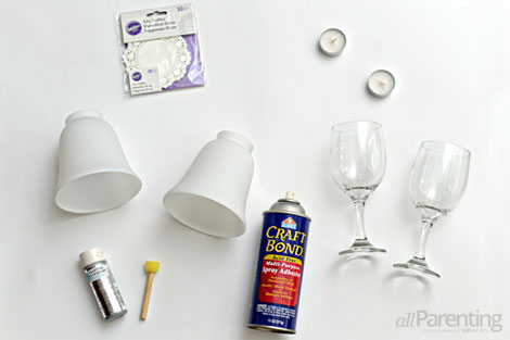 wine glass candle holders supplies