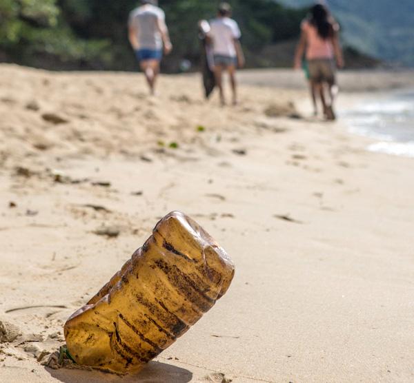 Trash pickup on beach