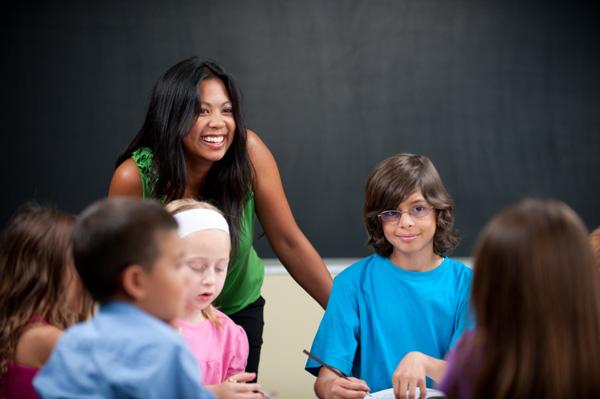 Female teacher in elementary school classroom