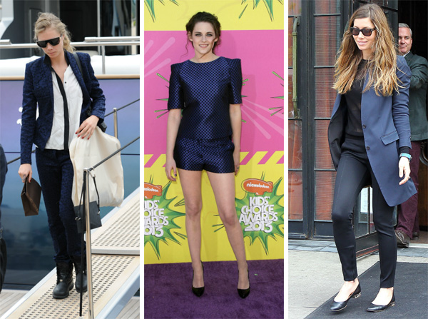 Cara Delevingne, Jessica Biel and Kristen Stewart wearing navy and black