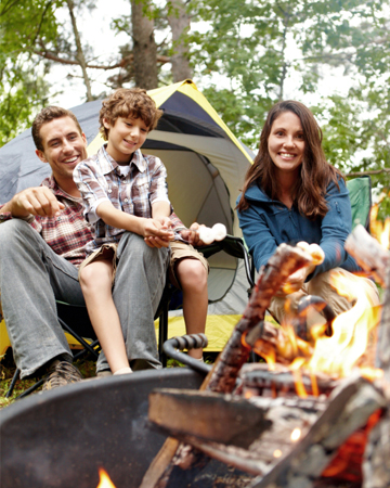 Parents camping with son