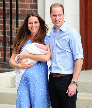 Kate Middleton, Prince William and George Alexander Louis