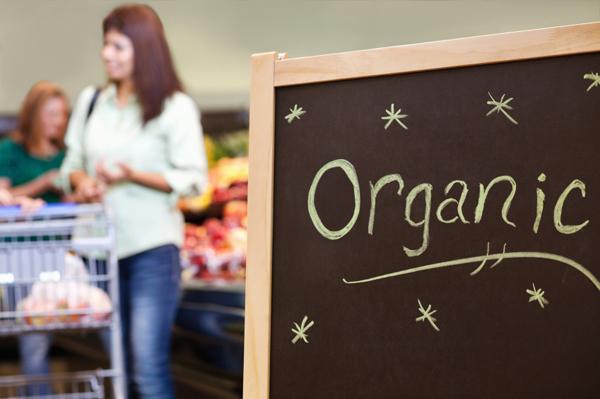 Woman shopping for organic food
