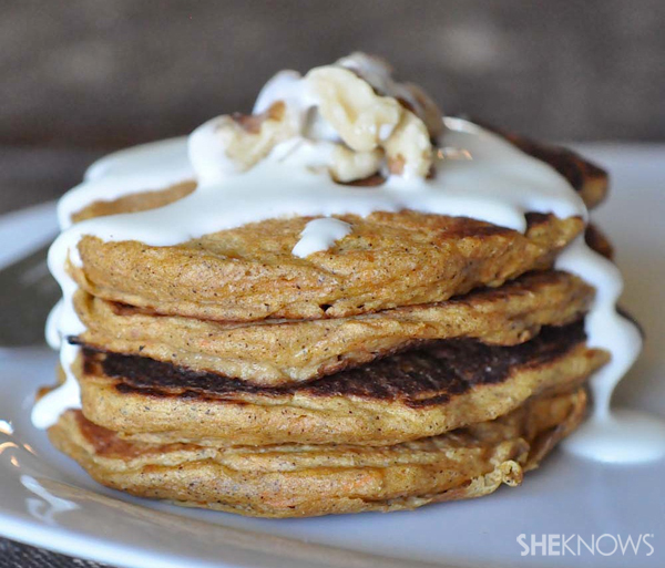 Spiced carrot pancakes with cream cheese glaze