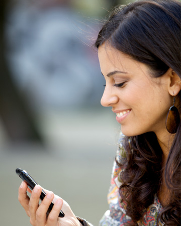 Woman dating on smartphone app