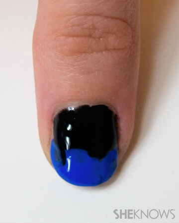 Christopher Kane inspired black and textured blue nails