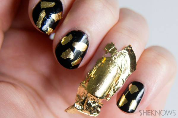 Gilded gold leaf daubed nail art