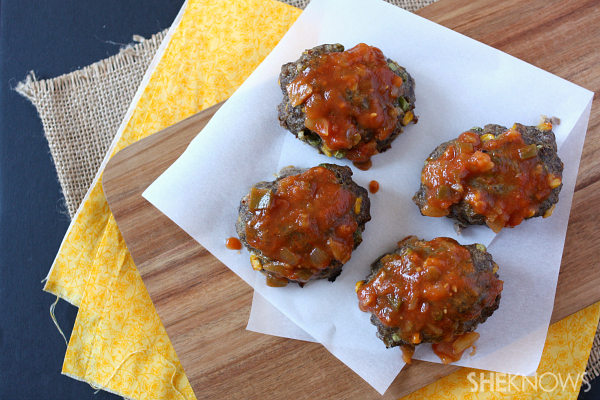 Individual vegetable packed meatloaves