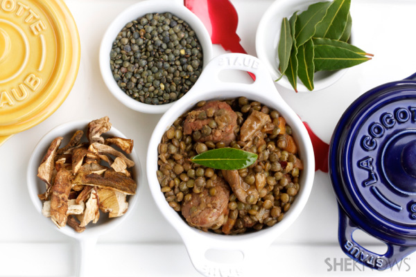 Lentils with porcini & sausage