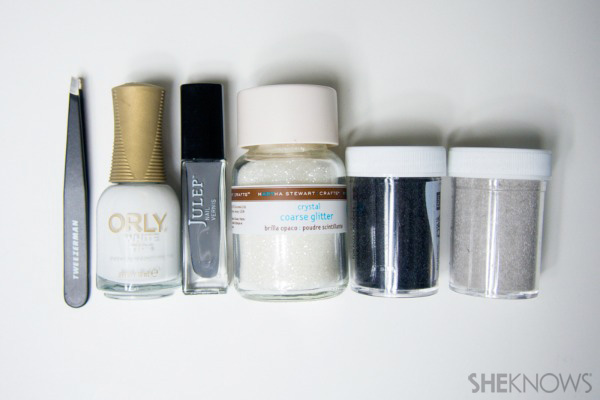 Chunky glitter and furry nails inspired by Rachel Zoe