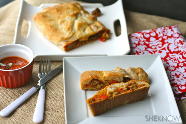 Sunday dinner: Sausage stromboli with mushrooms and peppers